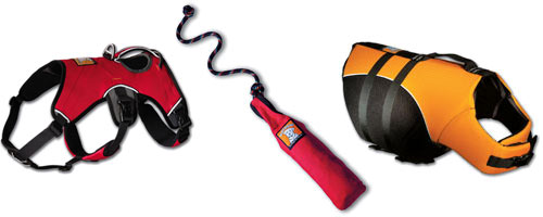 Photograph of RUFFWEAR's Float Coats, Harnesses, and Lunkers offered by the Canine Fitness Center